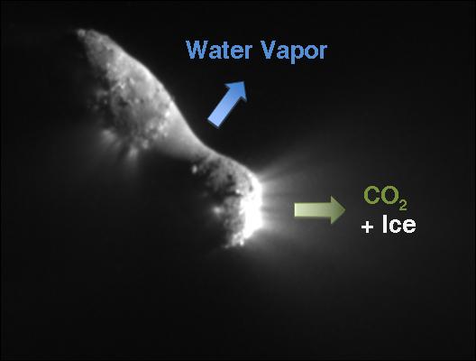 """Komet 103P Hartley 2, snimljena iz NASA-ine letjelice s 507 milja udaljenosti. Na kometi koja je već odavno trebala ostati bez """"goriva"""" se jako lijepo vide izboji vode, ledene prašine i ugljičnog dioksida."""