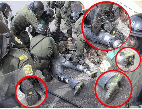 Policijski agenti provokatori se mogu prepoznati po čizmama koje su istovjetne onima koje nose njihove kolege - policajci u uniformama.