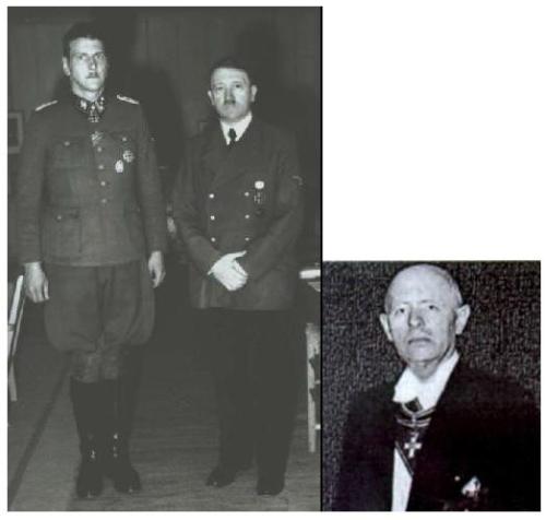 Auf dem Bild sehen Sie Otto Skorzenys Mörder aus den Reihen: SS / Odessa Group, aber er diente auch als Hauptspion und Mörder der CIA.  Otto Skorzeny mit Adolf Hitler.  Rechts ist Reinhard Gehlen.