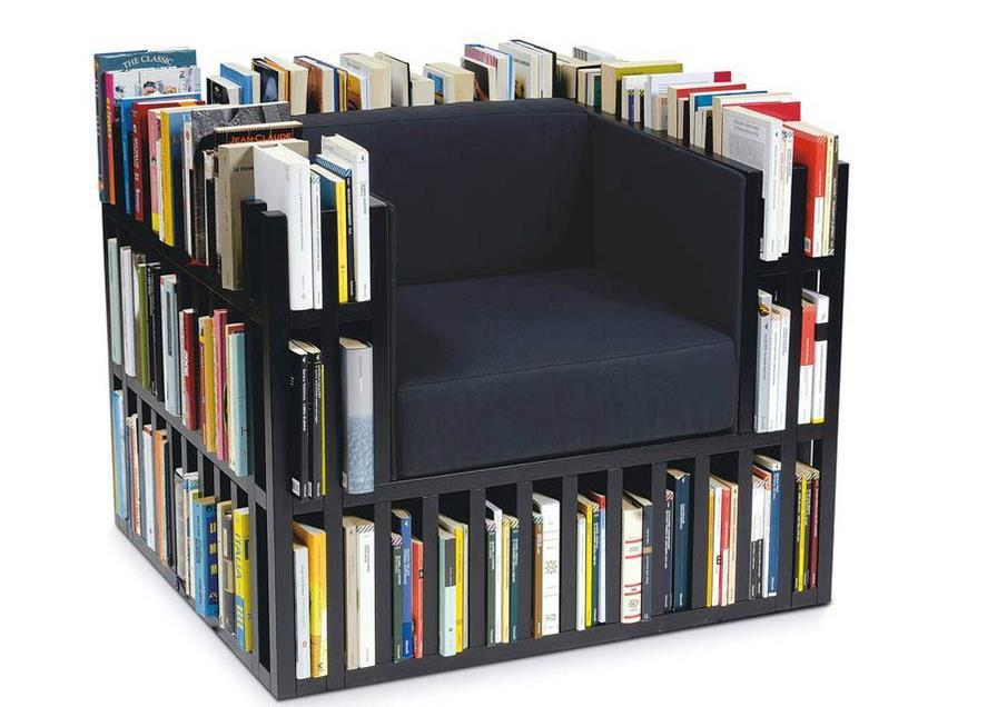 Još jedna ideja kako napraviti fotelju u kojoj imamo i dio za spremanje knjiga.