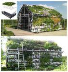 Živi biljni ljetnjikovac od gajbi, vreća sa zemljom te biljaka.