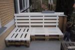 Osnova kutne garniture za terasu napravljene od drvenih paleta.