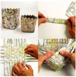 Papir je vrlo zahvalan materijal. može se lijepiti,spajati spajalicama, kaširati ili kao u ovom slučaju plesti.
