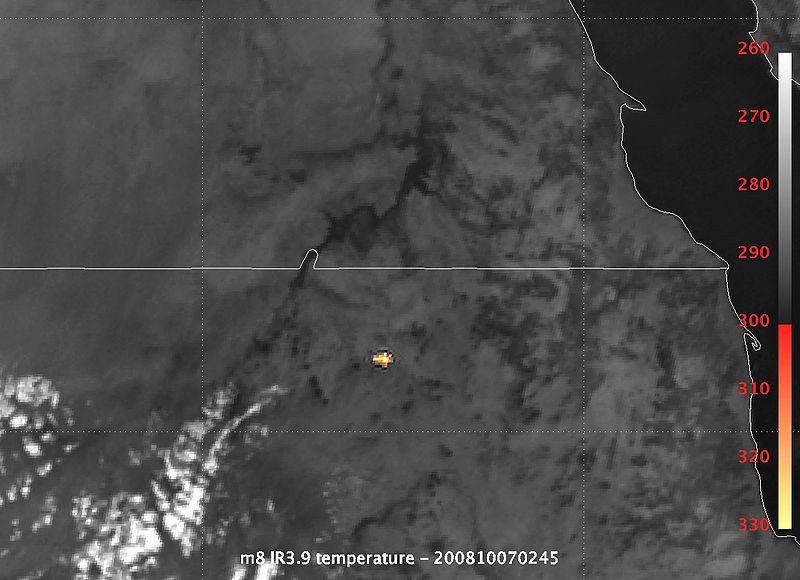 Eksplozija 2008TC3 snimljena infra crvenim kamerama satelita.