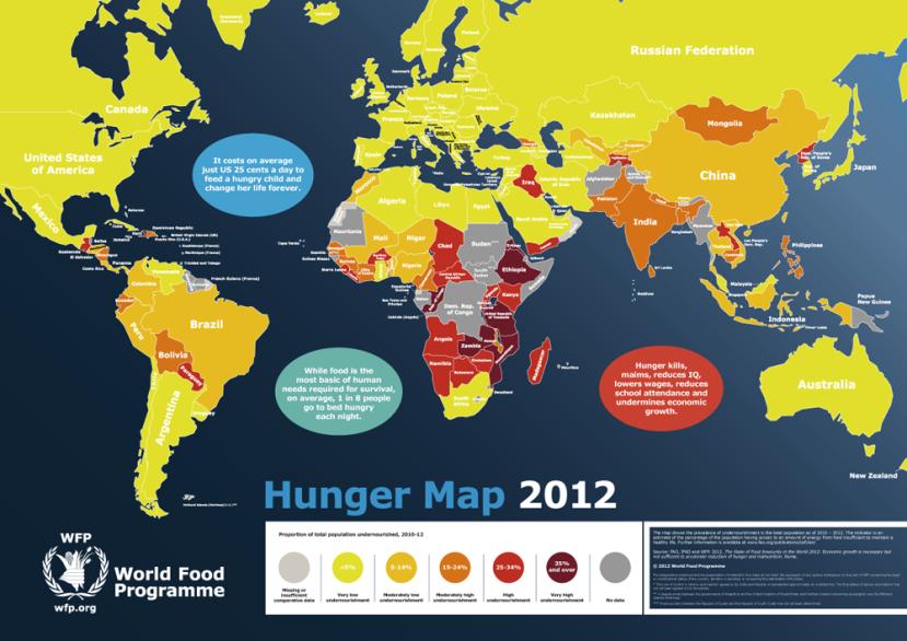 Karta gladi UNDESA-e iz 2012. godine.