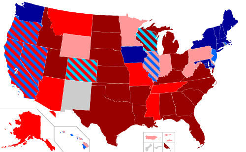 Tamno plava: dozvoljen istospolan brak. Crvena: državnim zakonom zabranjen istospolan brak i zajednica. Tamno crvena: državnim zakonom zabranjena istospolna zajednica, brak i svi drugi oblici istospolnog života.