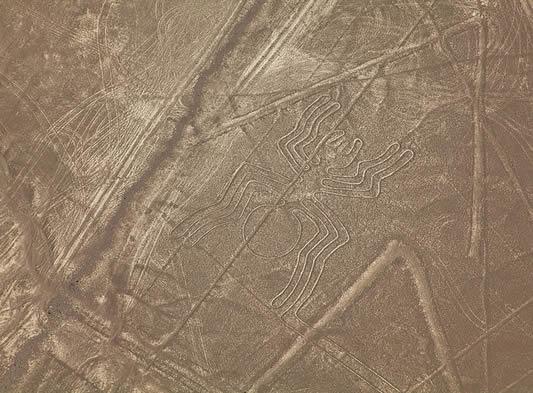 Uz piktogram pauka, možemo vidjeti razne dugačke i pravokutne teraglife.