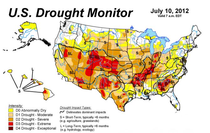 Karta s tamno crvenim područjima pokazuje mjesta na kojima je suša u potpunosti uništila urod.