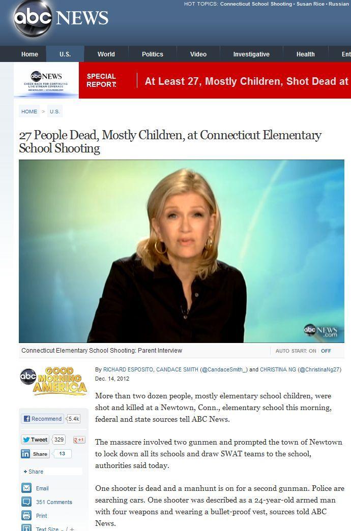 ABC izvještava o dvoje ubojica u Newtownu, no ubrzo nestaje takvo izvješće.