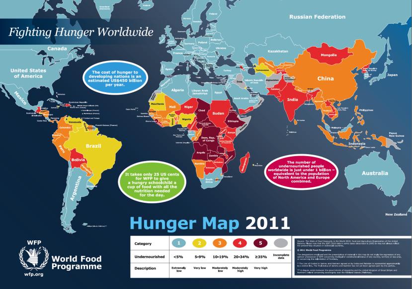 Karta gladi UNDESA-e iz 2011. godine.