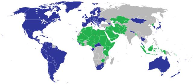 Tamno plavo: potpisnici UN rezolucije o ljudskim i LGBT pravima iz 2011. godine. Zeleno: Protivnici ove rezolucije i zagovornici kriminalnog gonjenja ljudi iz LGBT zajednice.