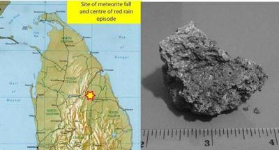 Mjesto pada meteorita zajedno s jednom od krhotina.