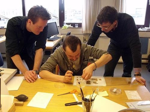 Ryholt sa suradnicima radi na sastavljanju papirusa.