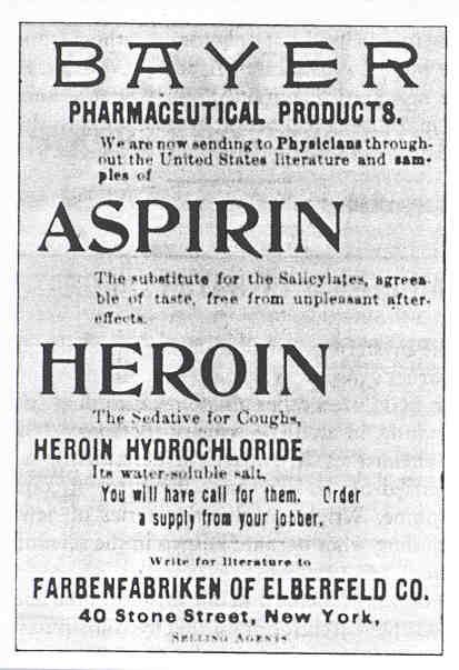 Reklamni letak za aspirin i - heroin! Jer Bayer je osim aspirina patentirao i herion kao lijek protiv kašlja. Legalno.