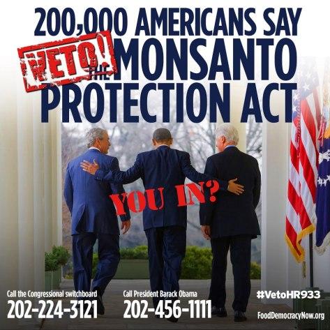 """Amerikanci se još uvijek bore protiv """"Zakona o zaštiti Monsanta"""" iako ga je Obama odobrio. Više na fun pageu Food Democracy Now."""