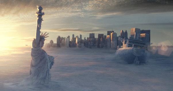 """U filmu """"Dan poslije sutra"""" New York je bio prekriven ledom i snijegom od stotinu metara, no u zadnjem ledenom dobu, situacija je bila puno dramatičnija, naime Sjeverna Amerika je grcala pod naslagama od 1500 metara leda."""