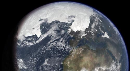 Konzervativna predođba ledene kape za vrijeme zadnjeg ledenog doba, napravljena na bazi današnjih obala i razine mora.