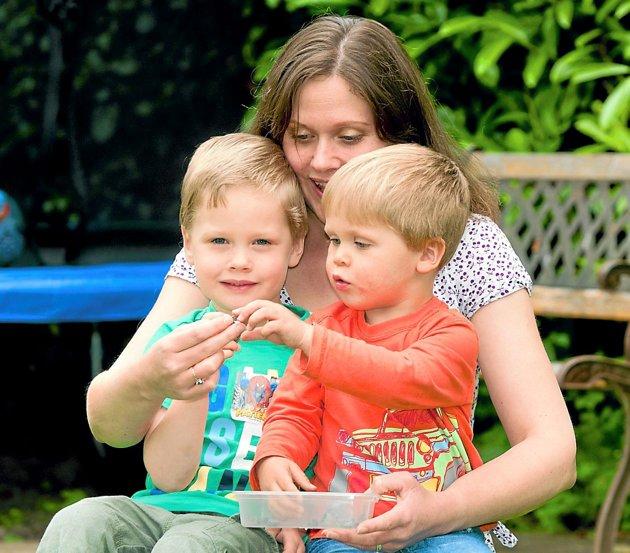 Sarah i njeni dječaci pokazuju fragmente meteorita koji se sručio na njihov vrt.