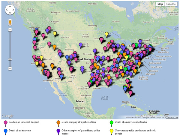 Karta CATO instituta s kojom se pokazuje policijska brutalnost i militarizacija na tlu SAD-a.