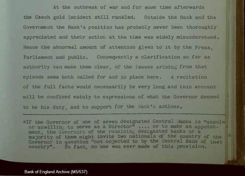 Dio prepiske između BIS-a i Nacionalne banke s navodom o prerpodaji zlata koje su nacisti ukrali od Čeha.