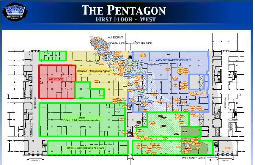 Preciznost udara o Pentagon je dobro vidljiva na ovom prikazu.