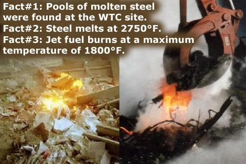 Kerozin ne može rastaliti željezo, niti stvoriti vatru koja bi željeznu nosivukonstrukciju dovela do usijanja, ali ekploziv Thermite može.