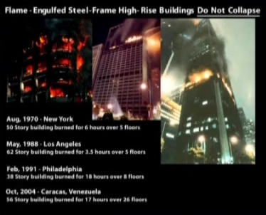 Brojni neboderi sa željeznom nosivom konstrukcijom su gorili danima, čak i tjednima pa se nisu srušili poput zgrada WTC-a.