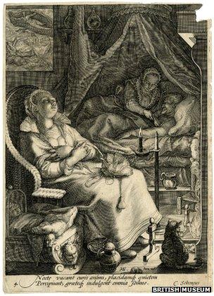 Roger Ekirchnavodi da je ova gravura iz 1595. Jana Saenredama jedna od brojnih dokaza noćne aktivnosti.