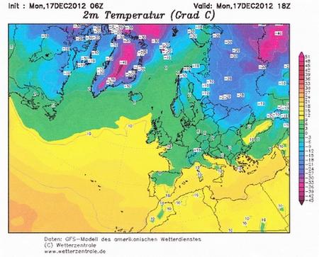 Temperature sjevernog Atlantika iz 2012. godine.