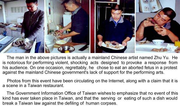 Rijetki su željeli oglasiti istinu, ova slika skinuta s Facebooka nije uspjela demantirati laži kje su se kao virus proširile internetom. Konceptualni šok performans je postao činjeica o kanibalizmu u Kini, bez obzira što na pladnju nisu bile ljudske bebe.