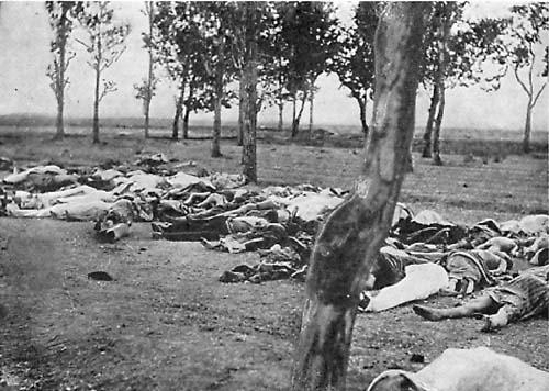 """Fotografija koju je napravio veleposlanik SAD-a u Otomanskom carstvu, uz napomenu: """"Slike poput ovih se vide na sve strane, turci pod krinkom deportacije ubijaju armence na različite načine."""""""