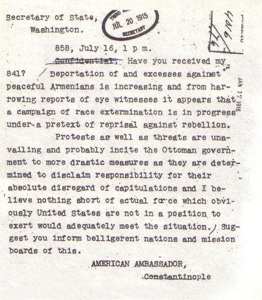 Telegram velepsolanika SAD-a iz Otomanskog carstva u kojem se opisuje masakr nad nevinim armenskim narodom.