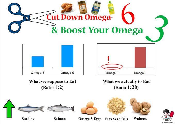 Kod unosa omega-3 masnih kiselina je zapravo najbitniji omjer između omega-3 i omega-6 masnih kiselina. Slika prikazuje lijevo koji bi bio idealana omjer, a desno kakav je zapravo u našoj konzumaciji.