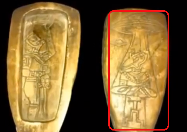 Nekoliko majanskih artefakata na kojima se vide vanzemaljska bića okružena naprednom tehnologijim i letjelicama koje nalikuju NLO-ima.