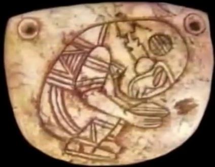 Prastari astronaut prikazana na majanskoj pločici.