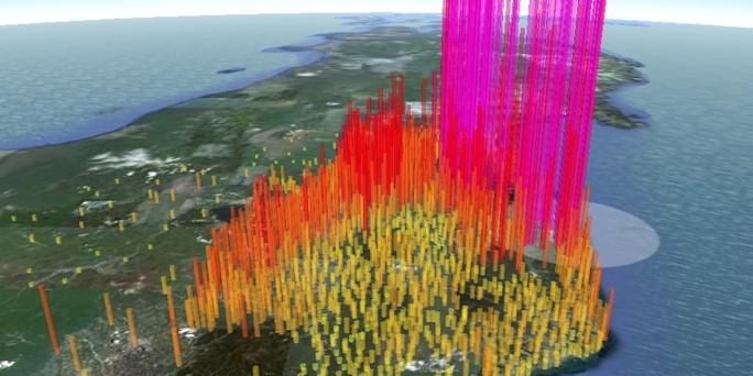 Nivo radijacije u Japanu, uzrokovan havarijom u Fukushimi, žuta boja je   radijacija neposredno iznad normale, dok je ružičasta boja nivo radijacije opasan po život.