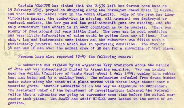 Izvješće vojnog atašea iz Buenos Airesa o Hitlerovoj nazočnosti na spornoj podmornici.