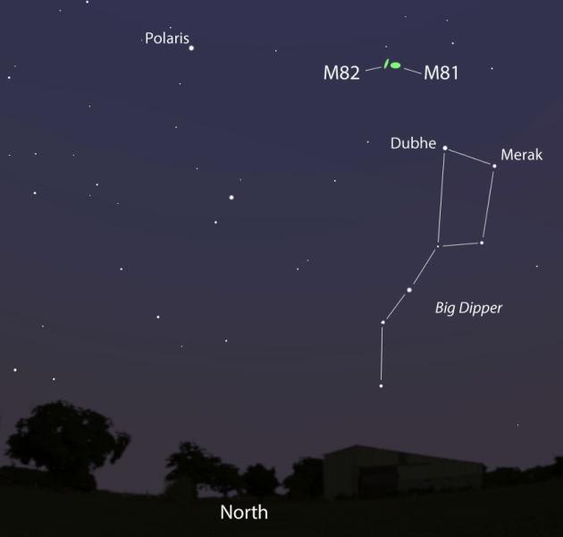Točan položaj M82 na noćnom nebu sjeverne hemisfere.