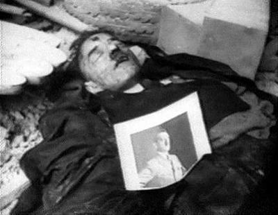 Još jedan od Hitlerovih dvojnika upucanih u glavu, kojeg su pronašli pripadnici Crvene armije na dan ulaska u nacistički Berlin.