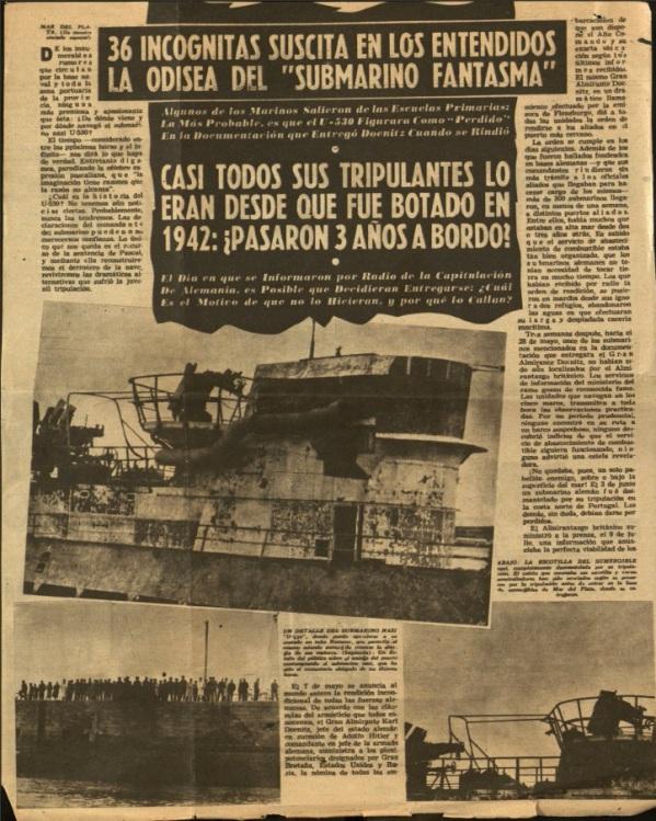 Fotokopija Argentinskih novina koje pišu o Hitlerovom dolasku u Argentinu.
