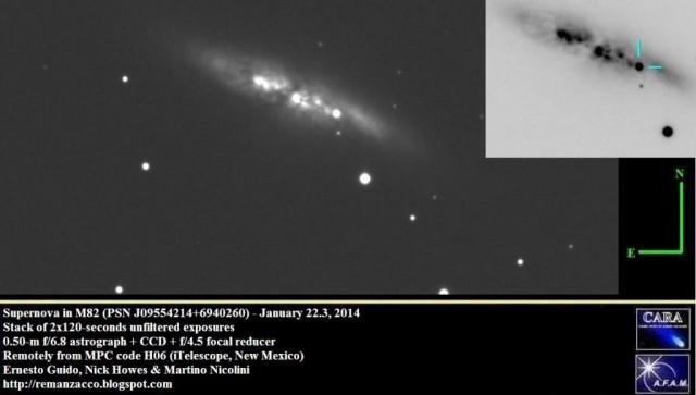 Jedna od prvih snimki supernove u galaktici M82.