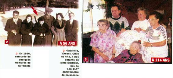 Marie Louise Meilleur lijevo s 56 godina i desno za 114 rođendan.