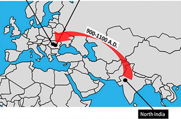 Na slici vidite prikaz romske migracije iz područja sjeverne Indije u Rumunjsku.