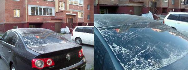 BIjeli prah nalik na snijeg, pao je na Omsk i njegovu okolicu.