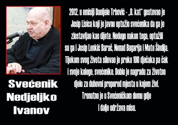 Don Nedjeljko Ivanov još jedan svećenik pedofil kojeg crkva skriva. Umjesto da ga se izbaci iz redova svećenstva on uživa u mirovini u okrilju crkve.