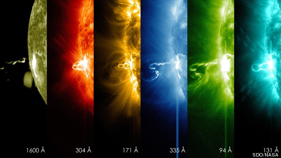 Solarna baklja klase X4.9 snimljena s različitim kamerama koji hvataju samo određene dijelove EM spektra.