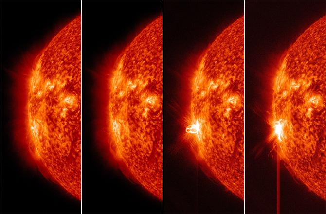 Trenutak početka zadnje erupcije na Suncu.