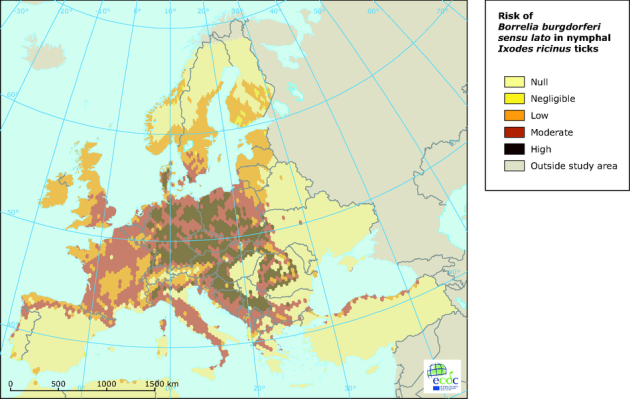 Rizik dobivanja Lymeove bolesti u Europi, tamna područja su s najvećom stopom zaraze, svijetla područja su s najmanjom stopom zaraze.