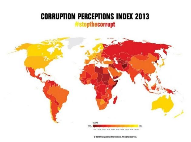 Korupcijska karta svijeta, tamno crvenom bojom su označene zemlje s najvećom korupcijom, a žutom bojom zemlje s najmanjom korupcijom.