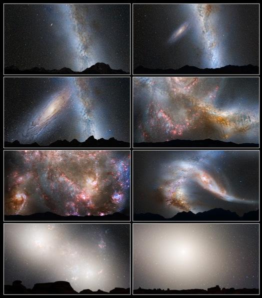 Scenarij kolizije Mliječne staze s Andromedom za nekih 1,4 milijarde godina.